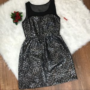NWT Elle Silver Black Brocade Cocktail Dress 4